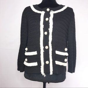 St. John Couture Black Knit Sweater Cardigan